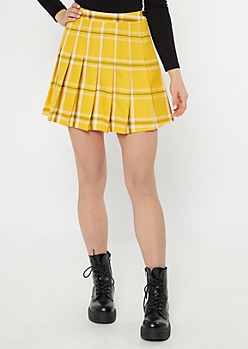 Yellow Plaid Print Pleated Skirt