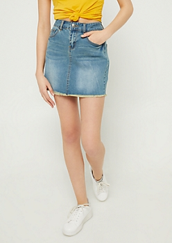 Medium Wash Denim Mini Skirt