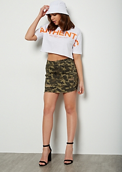 Camo Print Distressed Frayed Mini Jean Skirt