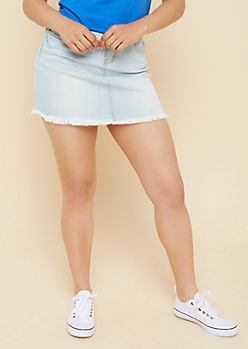 Light Wash Frayed Mini Jean Skirt