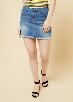 Medium Wash Frayed Mini Jean Skirt