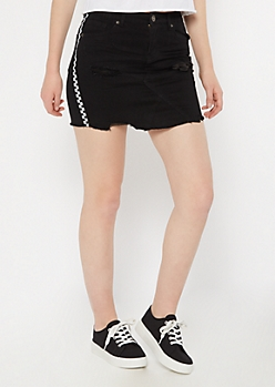 Black Checkered Print Side Striped Frayed Jean Skirt