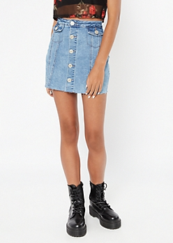 Medium Wash Button Down Raw Cut Jean Skirt