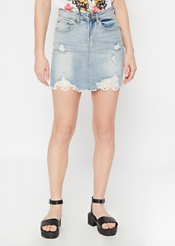Light Wash Ripped Crochet Jean Skirt