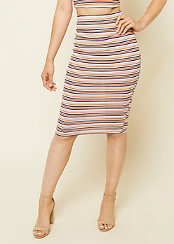 Red Stripe Pattern Ribbed Knit Pencil Skirt