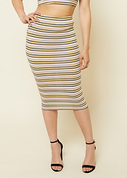 Yellow Stripe Pattern Ribbed Knit Pencil Skirt