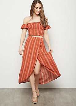 Burnt Orange Floral Striped Tulip Hem High Low Maxi Skirt