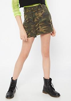 4f7d6df76f Camo Print Cargo Mini Skirt