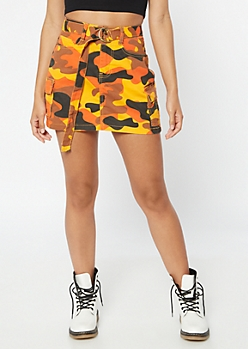 c8804621b Orange Camo Print Cargo Mini Skirt
