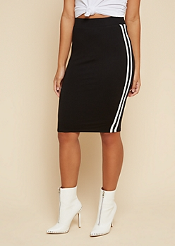 Black Side Striped Bodycon Pencil Skirt