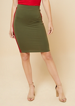 Olive Side Striped Bodycon Pencil Skirt