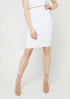 White Bodycon Midi Skirt