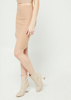 Taupe Bodycon Midi Skirt