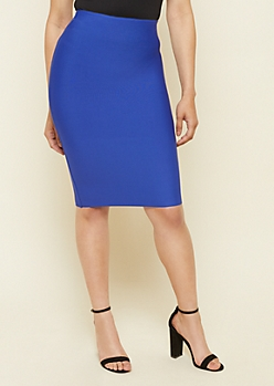 Blue Bodycon Midi Skirt