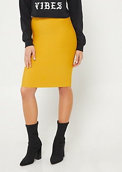 Mustard Bodycon Midi Skirt