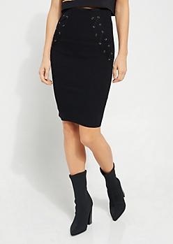 Lace Up Ribbed Knit Midi Skirt
