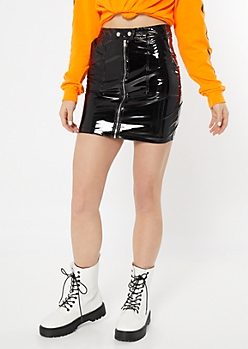Black Glossy Faux Leather Zip Skirt