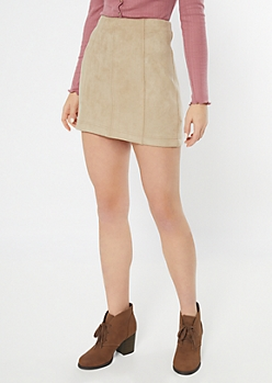 Sand Faux Suede Mini Skirt