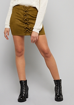 Green Front Tie Faux Suede Mini Skirt