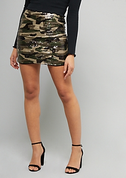 Camo Sequined Zip Back Mini Skirt