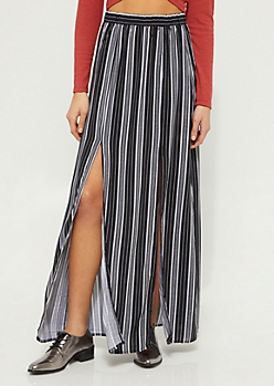 Black Striped Front Slit Maxi Skirt