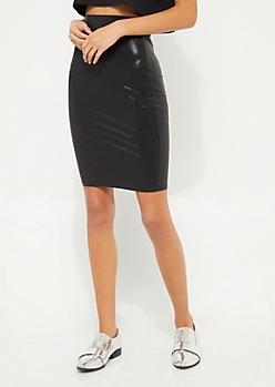 Black Metallic Bodycon Midi Skirt