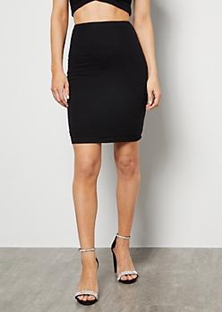 Black Ribbed Knit Super Soft Mini Skirt