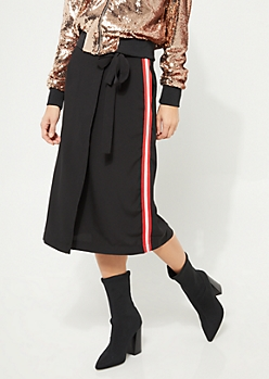 Black Athletic Stripe Wrap Midi Skirt