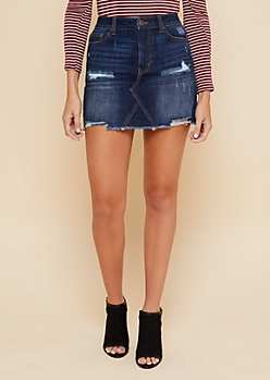 Dark Wash Distressed Frayed Jean Mini Skirt