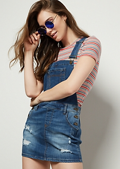 Medium Wash Distressed Button Side Denim Overall Dress