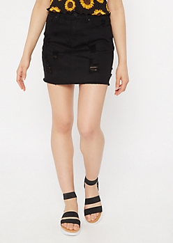 Black Raw Hem Distressed Mini Jean Skirt