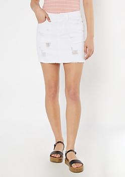 White Raw Hem Distressed Mini Jean Skirt