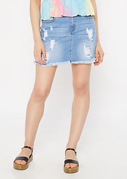 Light Wash Raw Hem Distressed Mini Jean Skirt