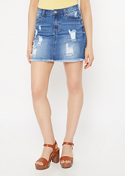 Medium Wash Distressed Jean Mini Skirt