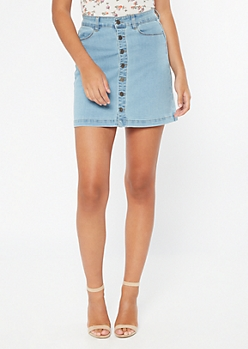 Light Wash Button Front Jean Mini Skirt
