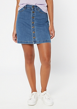 Medium Wash Button Front Jean Mini Skirt