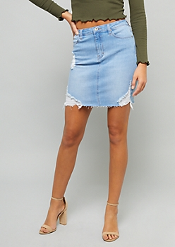 Light Wash Ripped Raw Cut Jean Mini Skirt