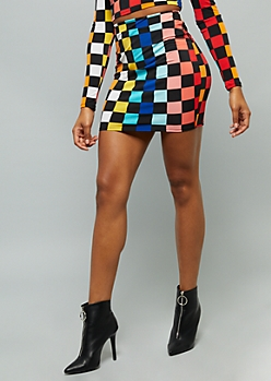 Rainbow Checkered Print Mini Skirt
