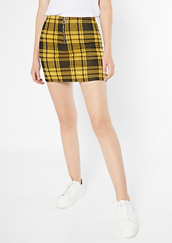 Mustard Plaid Print Zip Front Mini Skirt