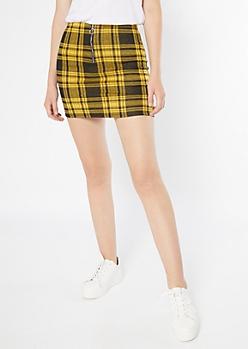 Mustard Plaid Print Zip Front Mini Skirt