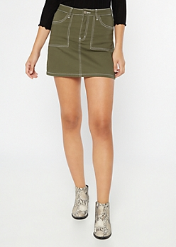 Olive Contrast Stitch Mini Skirt