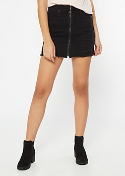 Black Distressed Zip Front Mini Skirt
