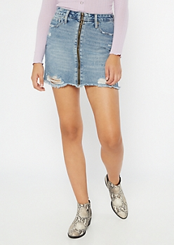 Medium Wash Distressed Zip Front Mini Skirt