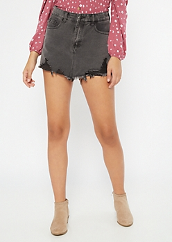 Black Distressed Frayed Skort