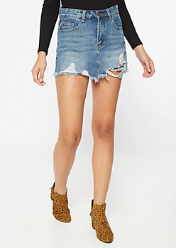Medium Wash Distressed Frayed Skort