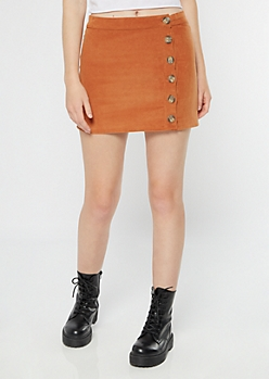 Cognac Side Button Down Corduroy Skirt