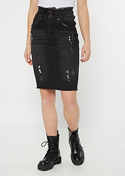 Black High Rise Distressed Denim Skirt
