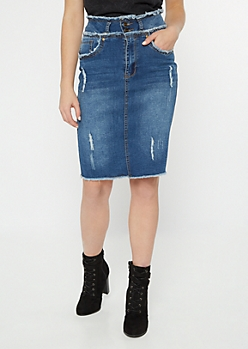 Medium Wash Distressed Midi Denim Skirt