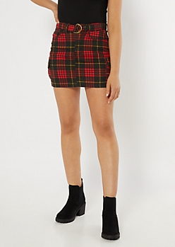 Red Plaid Print Cargo Skirt