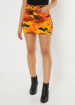 Orange Camo Print Cargo Skirt